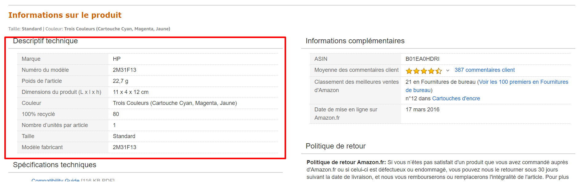 descriptif technique amazon