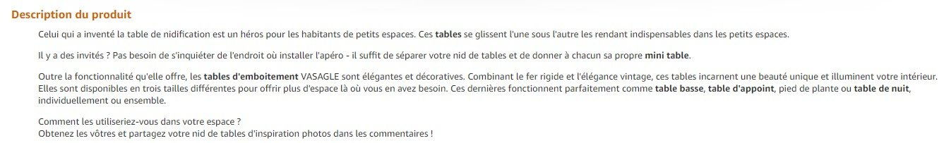 Bonne description produit Amazon