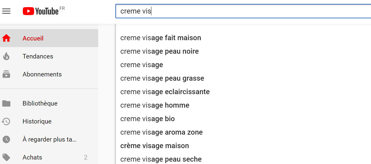 suggestions recherches youtube