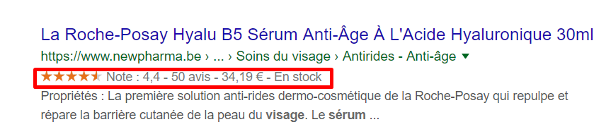 Exemple rich snippets Newpharma Be