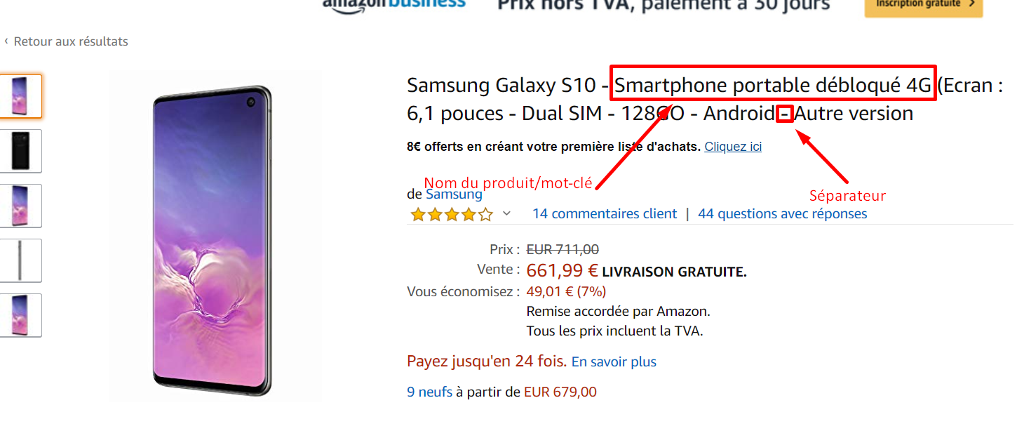 titre amazon samsung s10