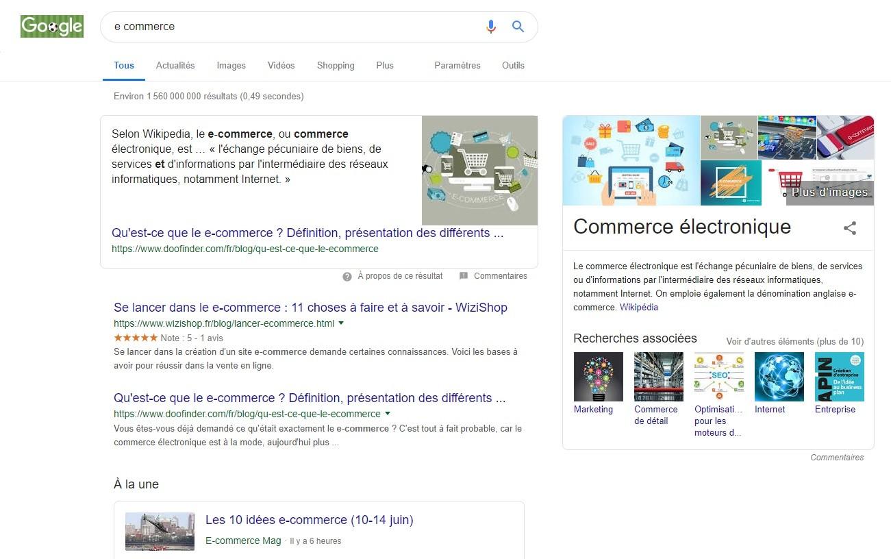 e-commerce recherche large