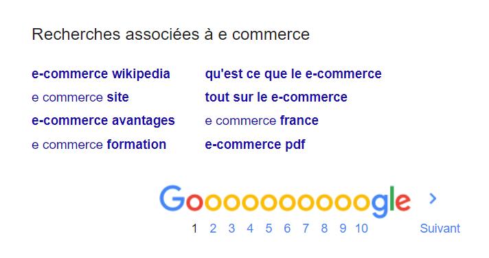 serp recherches associees e commerce