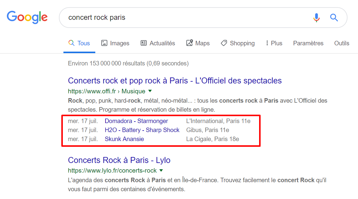 rich snippets concert rock paris
