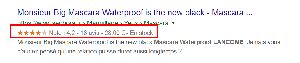 rich snippets sephora exemple