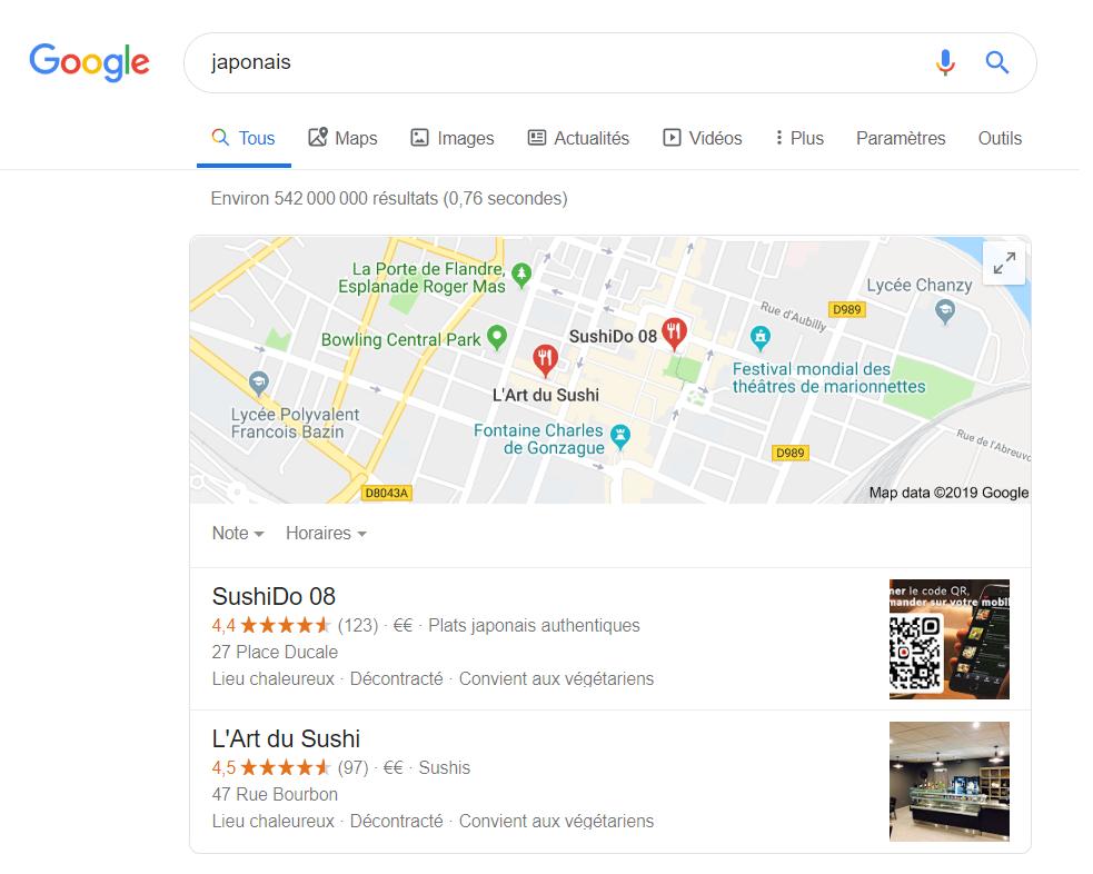 serp google japonais