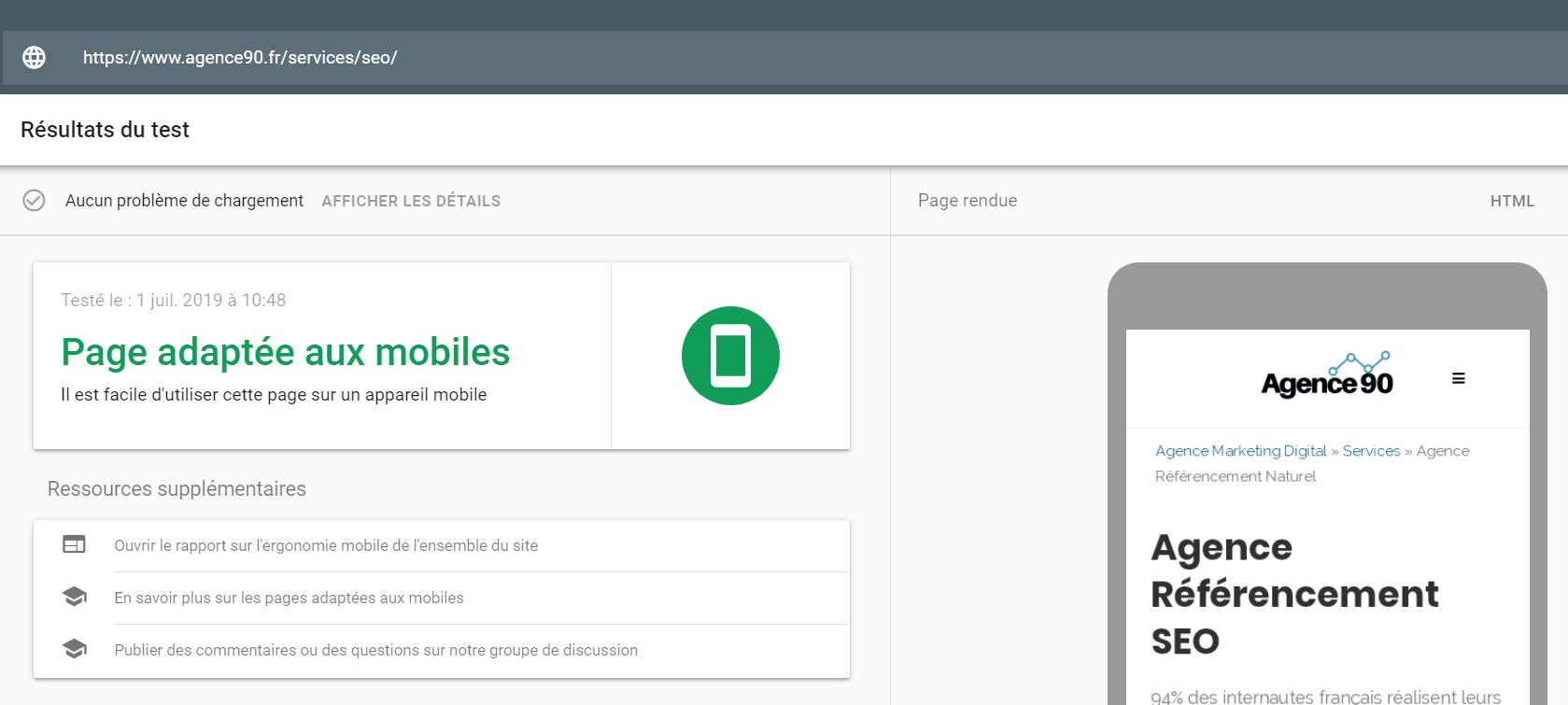 test optimisation mobile agence 90