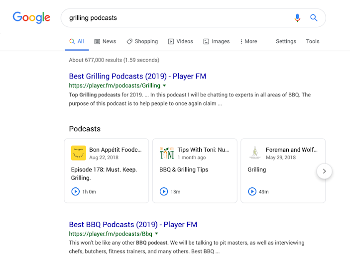 podcasts resultats google