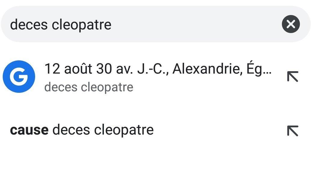 deces cleopatre barre de recherche chrome