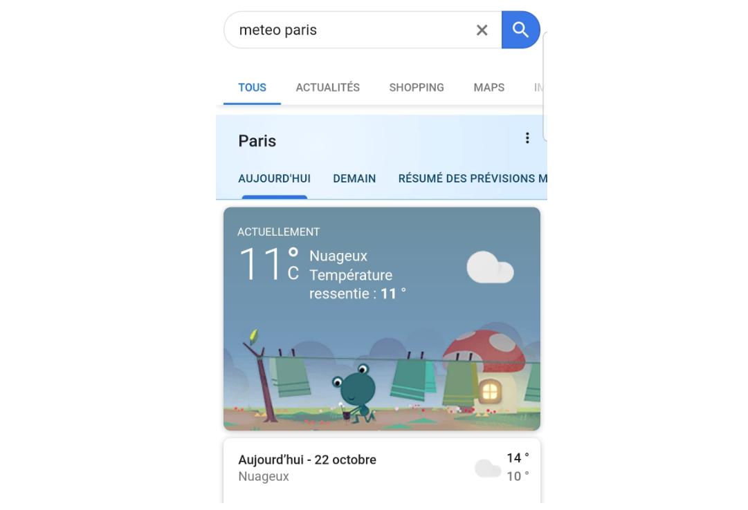 affichage serp meteo google 2019