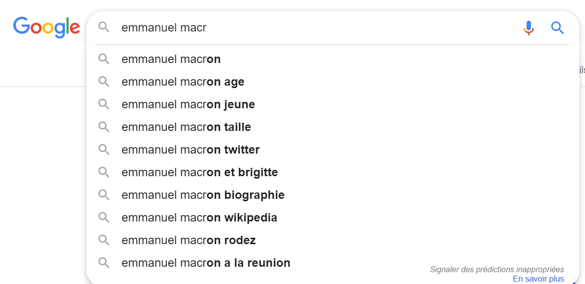 google autocompletion macron