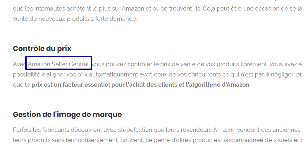 amazon seller central exemple mot cle suite