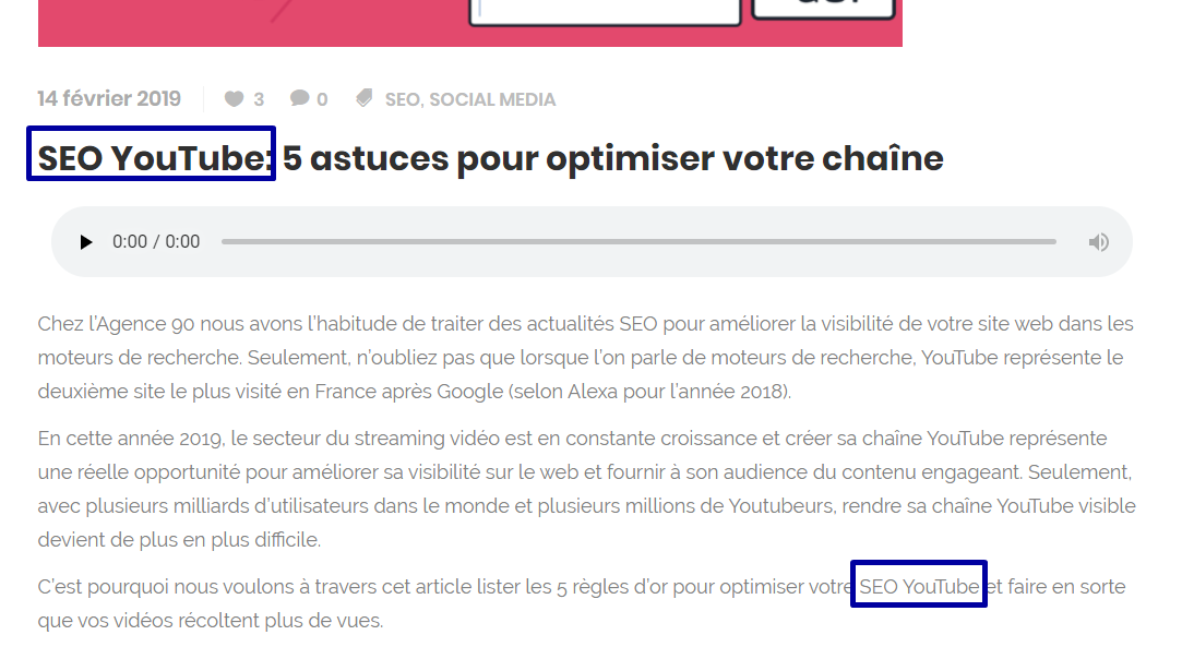 exemple article seo youtube