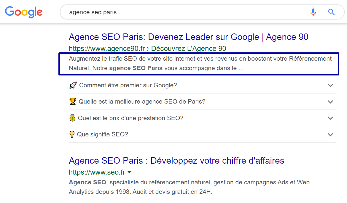 exemple meta description agence seo paris