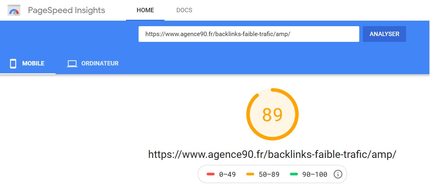 exemple page speed insights agence 90
