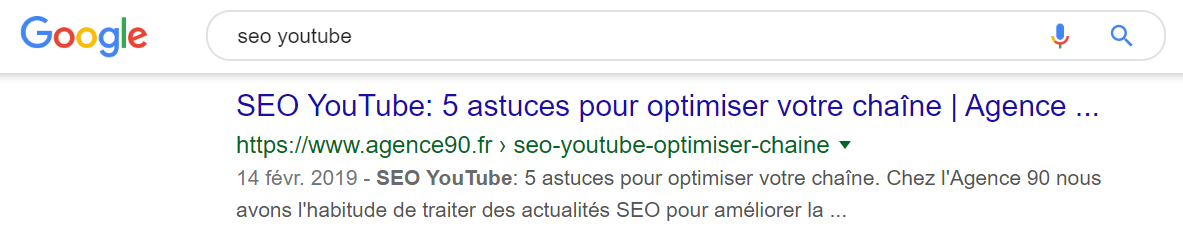 seo youtube serp agence 90 exemple