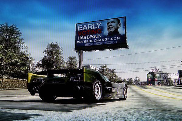 Panneau d'affichage de Barack Obama dans le jeu Burnout Paradise