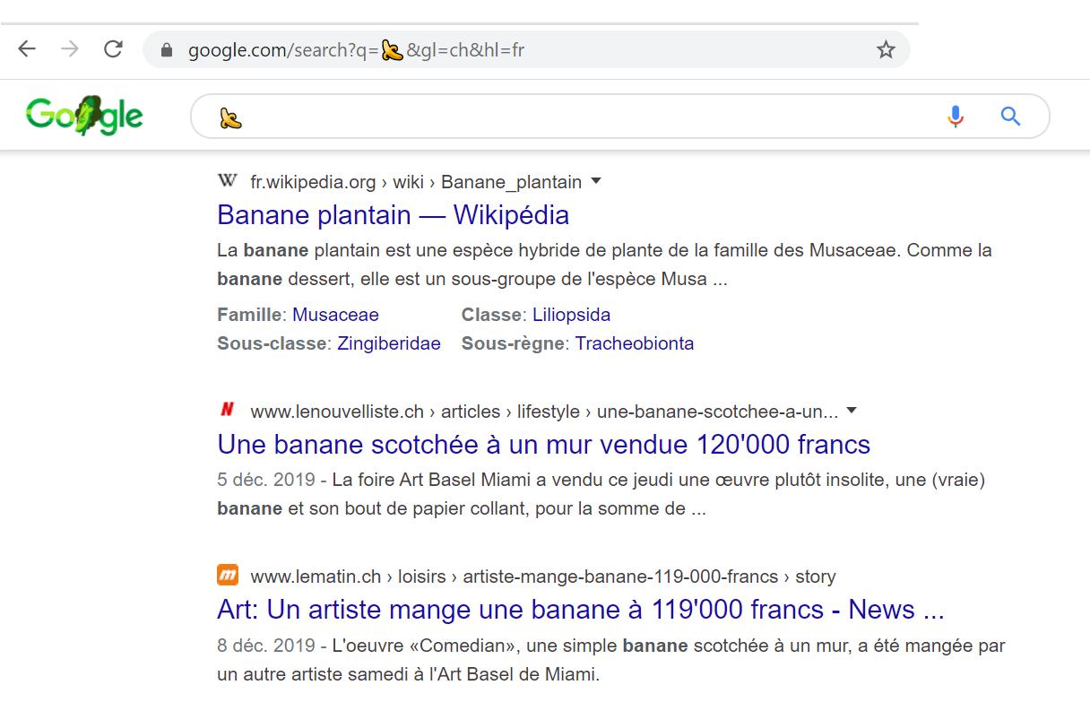compréhension de l'emoji banane par google