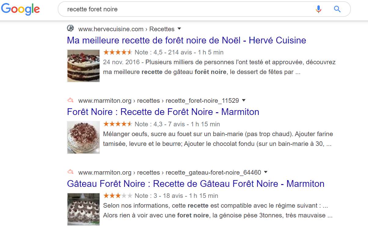 exemple recette foret noire google rich snippets