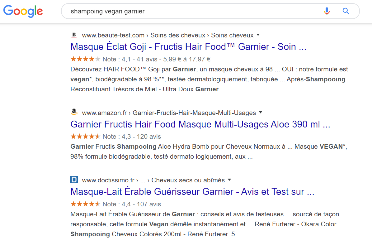 exemple rich snippets shampoing vegan garnier