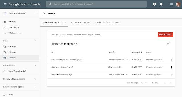 suppression temporaire url search console
