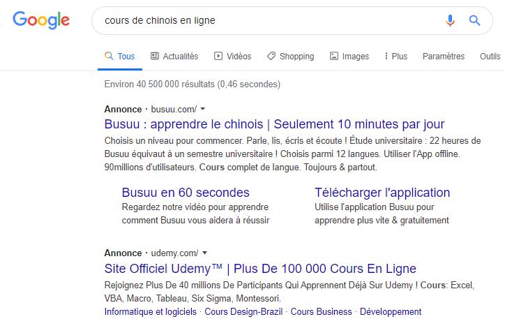 exemple annonces google ads cours de chinois en ligne