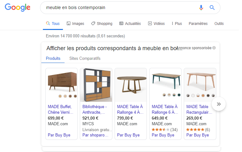 exemple annonce google shopping meuble en bois contemporain