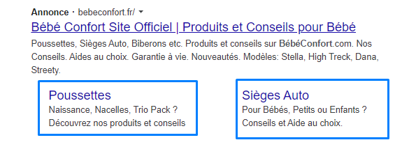 exemple sitelinks google ads pousette