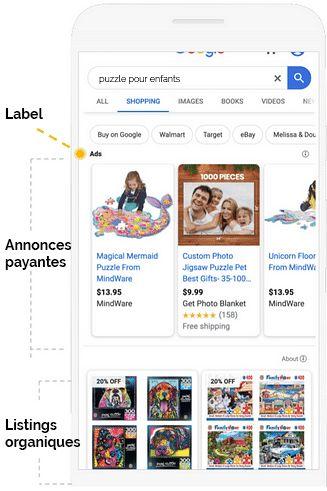 google shopping listings organiques et payants