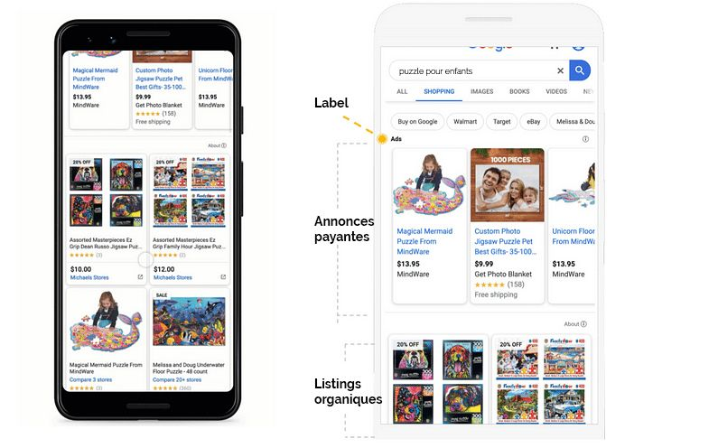 Listings organiques google shopping
