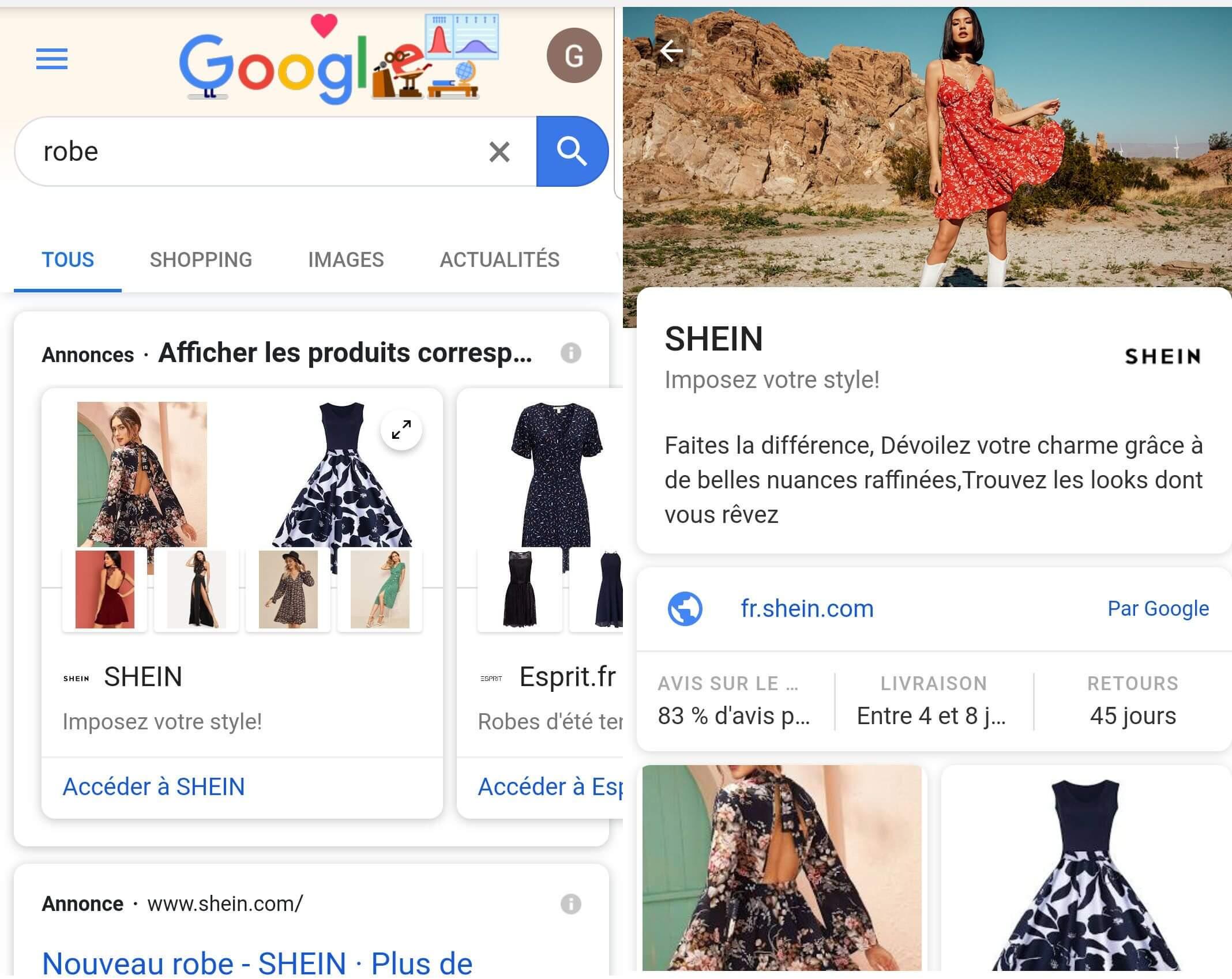 annonces google shopping showcase