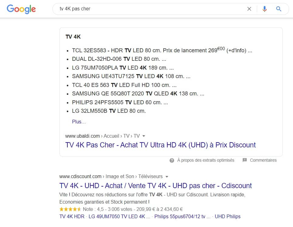 tv 4k serp