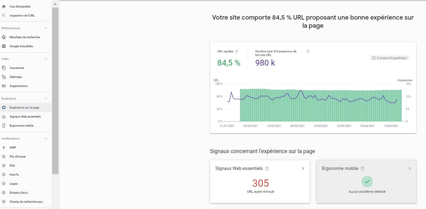 rapport page experience search console